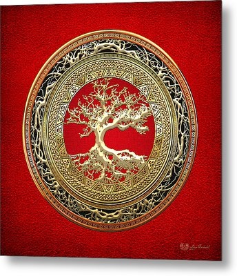 Golden Celtic Tree Of Life  Metal Print by Serge Averbukh