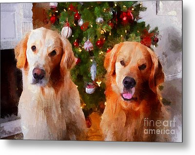 Golden Christmas Metal Print by Claire Bull