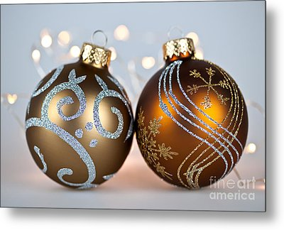 Golden Christmas Ornaments Metal Print by Elena Elisseeva