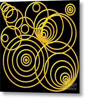 Golden Circles Optical Illusion Metal Print by Rose Santuci-Sofranko