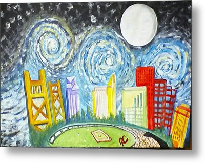 Golden City Baseball Metal Print by Carol Duarte