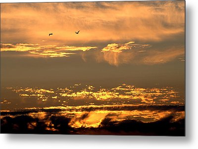 Metal Print featuring the photograph Golden Clouds by AJ  Schibig