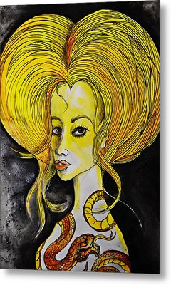 Metal Print featuring the painting Golden Core by Sandro Ramani