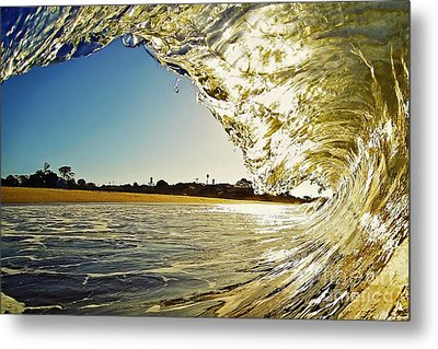 Golden Curtain Metal Print