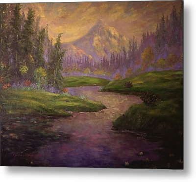 Golden Dawn At Mt. Hood Metal Print by Glenna McRae