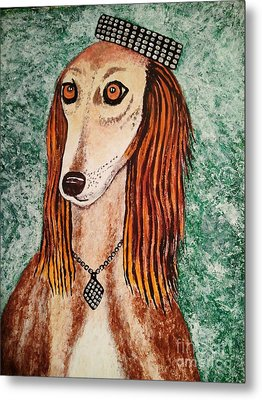 Metal Print featuring the painting Golden Dog by Jasna Gopic