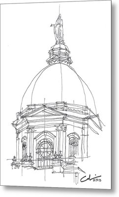 Metal Print featuring the drawing Golden Dome Sketch by Calvin Durham