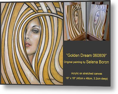 Metal Print featuring the painting Golden Dream 060809 Comp by Selena Boron