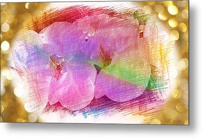 Golden Dreams Of Orchids Metal Print