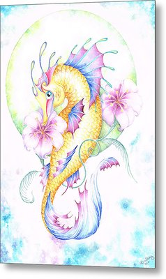Golden Fairy Seahorse Metal Print by Heather Bradley