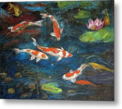 Metal Print featuring the painting Golden Fish by Jieming Wang