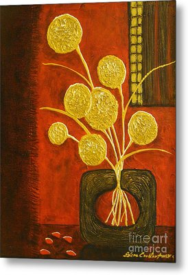 Golden Flowers Metal Print by Elena  Constantinescu