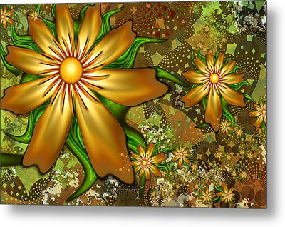Golden Flowers Metal Print by Peggi Wolfe