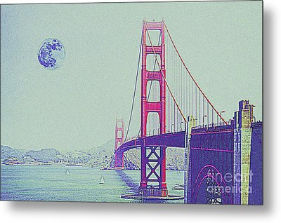 Golden Gate And Full Moon Metal Print
