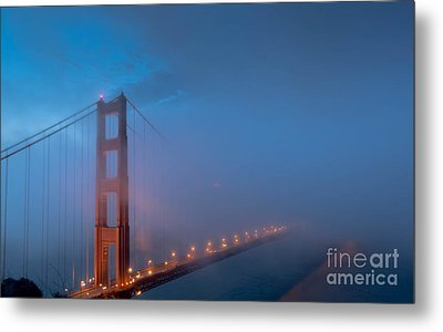 Golden Gate At Blue Hour Metal Print by Along The Trail