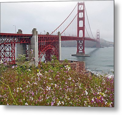 Golden Gate Bridge And Summer Flowers Metal Print by Connie Fox