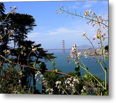 Golden Gate Bridge And Wildflowers Metal Print by Carol Groenen