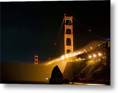 Golden Gate Bridge At Night In The Fog Metal Print