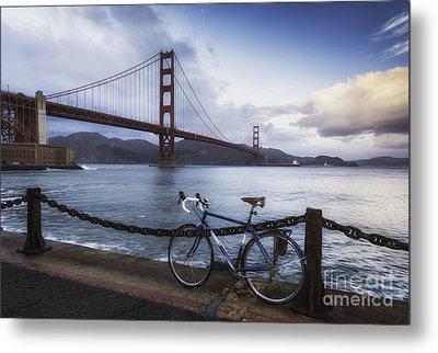 Golden Gate Bridge Bike Ride Metal Print by Mel Ashar