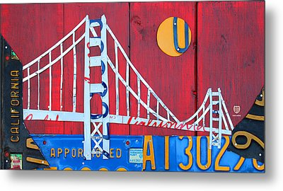Golden Gate Bridge California Recycled Vintage License Plate Art On Red Distressed Barn Wood Metal Print by Design Turnpike
