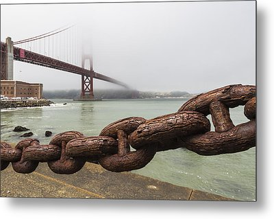 Golden Gate Bridge Chain Metal Print by Adam Romanowicz