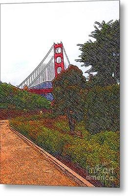 Golden Gate Bridge Crosshatch Metal Print
