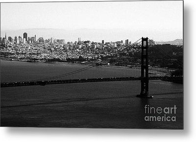 Golden Gate Bridge In Black And White Metal Print by Linda Woods