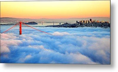 Golden Gate Bridge In Fog At Sunset Metal Print