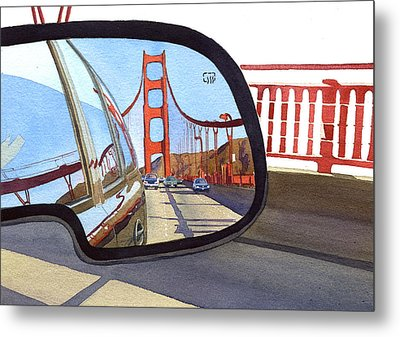 Golden Gate Bridge In Side View Mirror Metal Print by Mary Helmreich