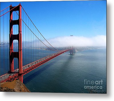 Golden Gate Bridge - Into The Mist Metal Print by Pete Edmunds