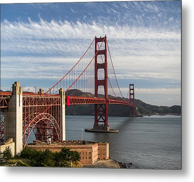Golden Gate Bridge Morning Light Metal Print
