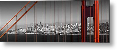 Golden Gate Bridge Panoramic Downtown View Metal Print by Melanie Viola