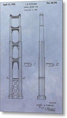 Golden Gate Bridge Patent Metal Print