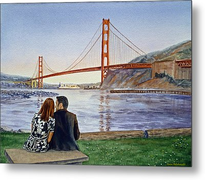 Golden Gate Bridge San Francisco - Two Love Birds Metal Print