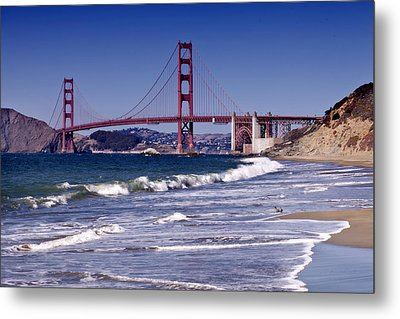 Golden Gate Bridge - Seen From Baker Beach Metal Print by Melanie Viola