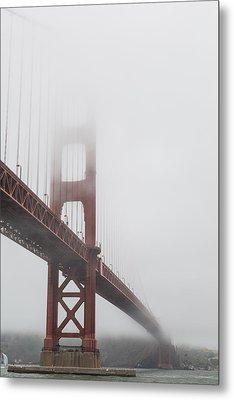 Golden Gate Bridge Shrouded In Fog Metal Print by Adam Romanowicz