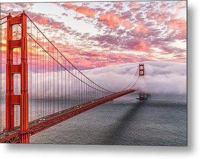 Golden Gate Bridge Sunset Evening Commute Metal Print by Dave Gordon