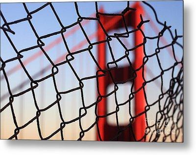Golden Gate Bridge Through The Fence Metal Print