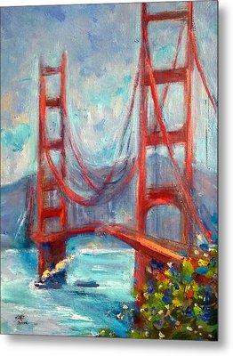 Golden Gate Oil Sketch Metal Print