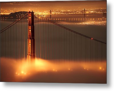 San Francisco - Golden Gate On Fire Metal Print