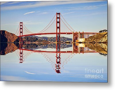 Golden Gate Reflection Metal Print by Colin and Linda McKie