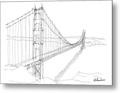 Golden Gate Sketch Metal Print by Calvin Durham