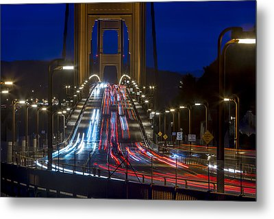 Golden Gate Traffic Metal Print by Dave Cleaveland