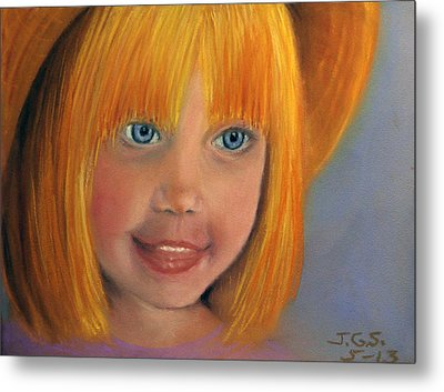 Metal Print featuring the painting Golden Girl by Janet Greer Sammons