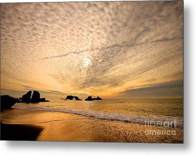 Golden Glow Of A Sunset Over Goat Rock California Metal Print by Wernher Krutein