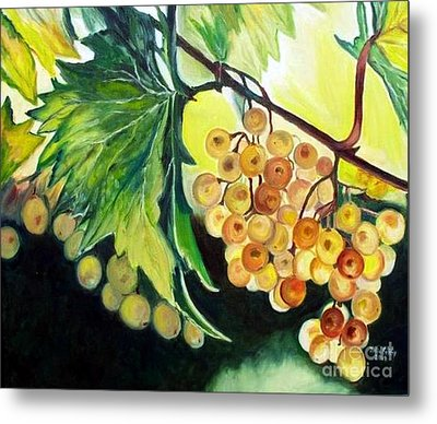 Metal Print featuring the painting Golden Grapes by Julie Brugh Riffey