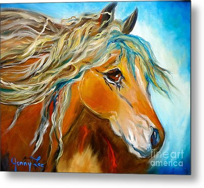 Metal Print featuring the painting Golden Horse by Jenny Lee