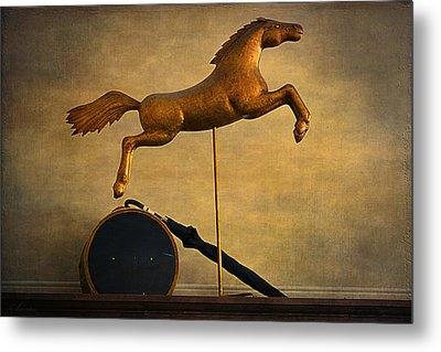 Golden Horse Metal Print by Maria Angelica Maira