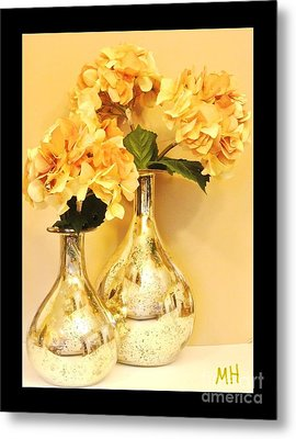 Golden Hydrangia Metal Print