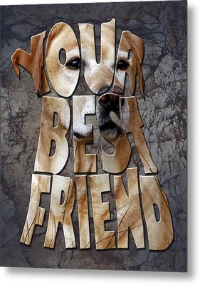 Golden Labrador Retriever Typography Art Metal Print by Georgeta Blanaru